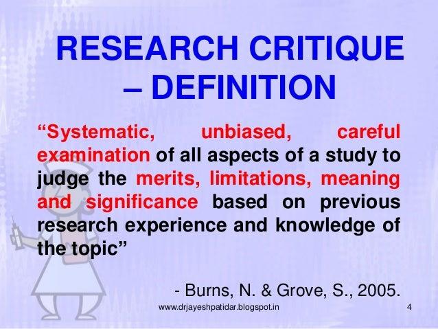 Critiquing a research article essay