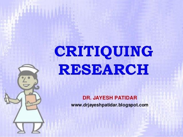 Critiquing research