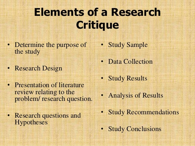 THE RESEARCH CRITIQUE