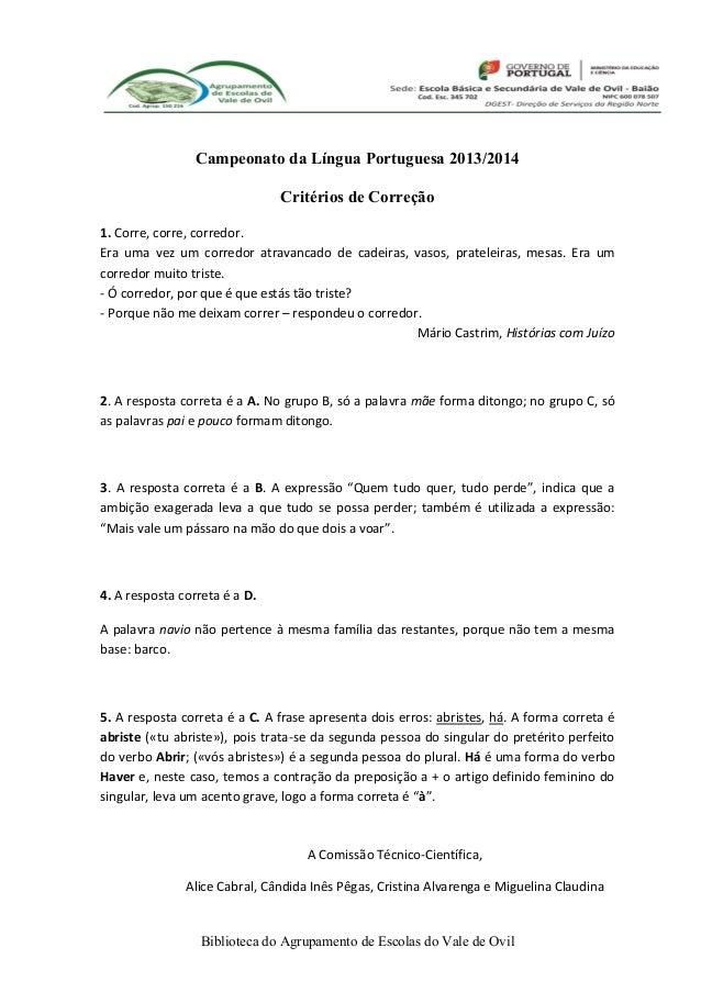1º teste do Campeonato de Língua Portuguesa 2013/2014 - critérios de correção