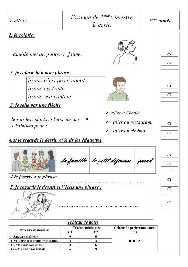 Examen de 2èmetrimestre L'écrit.  L'élève : . . . . . . . . . . . . .  3ème année  1. je colorie:  amélie met un pullover ...