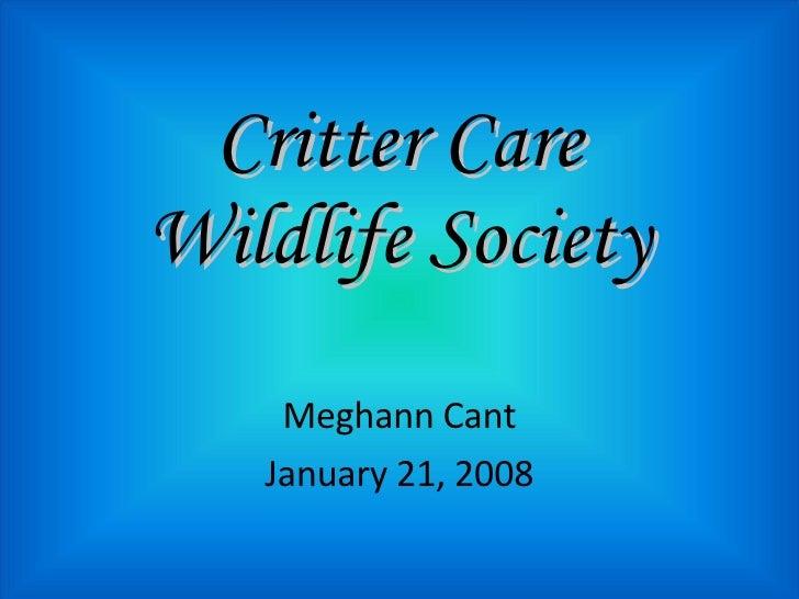 Critter Care Wildlife Society Meghann Cant January 21, 2008