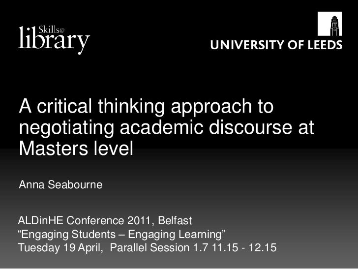 A critical thinking approach to negotiating academic discourse at Masters level