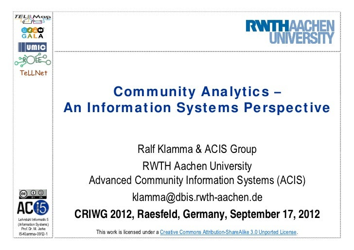 Community Analytics – An Information Systems Perspective