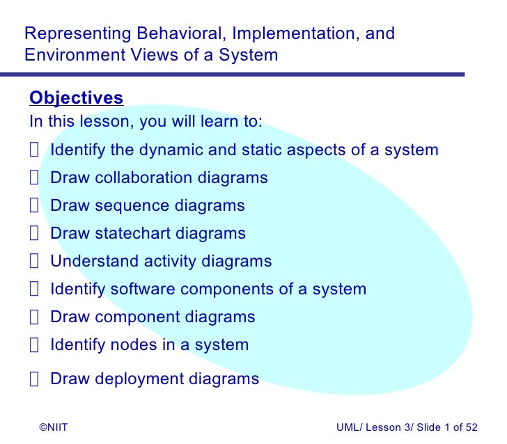 Representing Behavioral, Implementation, andEnvironment Views of a SystemObjectivesIn this lesson, you will learn to: Iden...