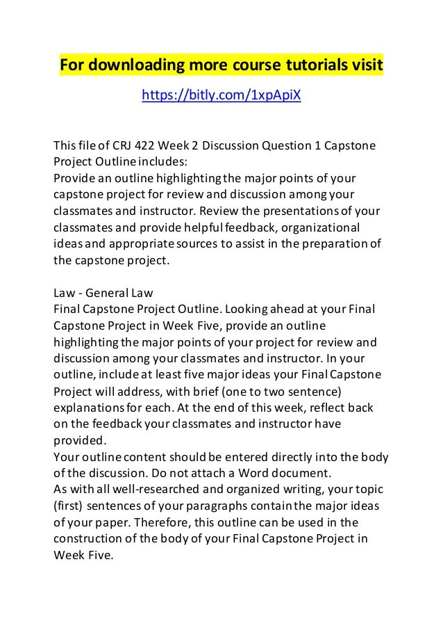 Crj 422 Week 2 Dq 1 Capstone Project Outline