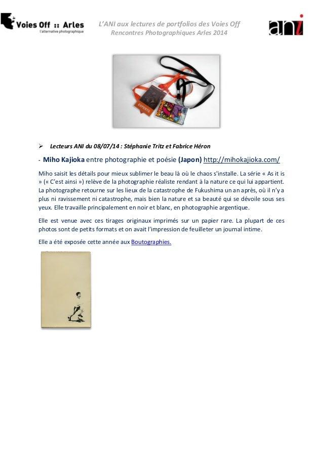 L'ANI aux lectures de portfolios des Voies Off  Rencontres Photographiques Arles 2014   Lecteurs ANI du 08/07/14 : Stépha...