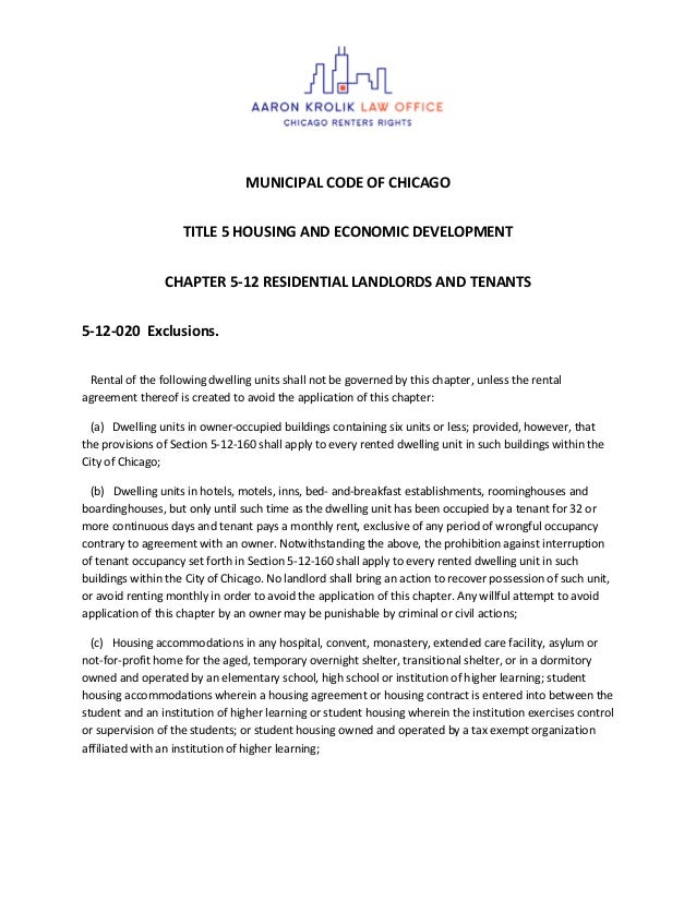 MUNICIPAL CODE OF CHICAGO TITLE 5 HOUSING AND ECONOMIC DEVELOPMENT CHAPTER 5-12 RESIDENTIAL LANDLORDS AND TENANTS 5-12-020...