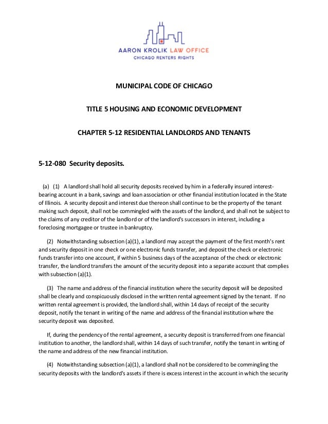 MUNICIPAL CODE OF CHICAGO TITLE 5 HOUSING AND ECONOMIC DEVELOPMENT CHAPTER 5-12 RESIDENTIAL LANDLORDS AND TENANTS 5-12-080...