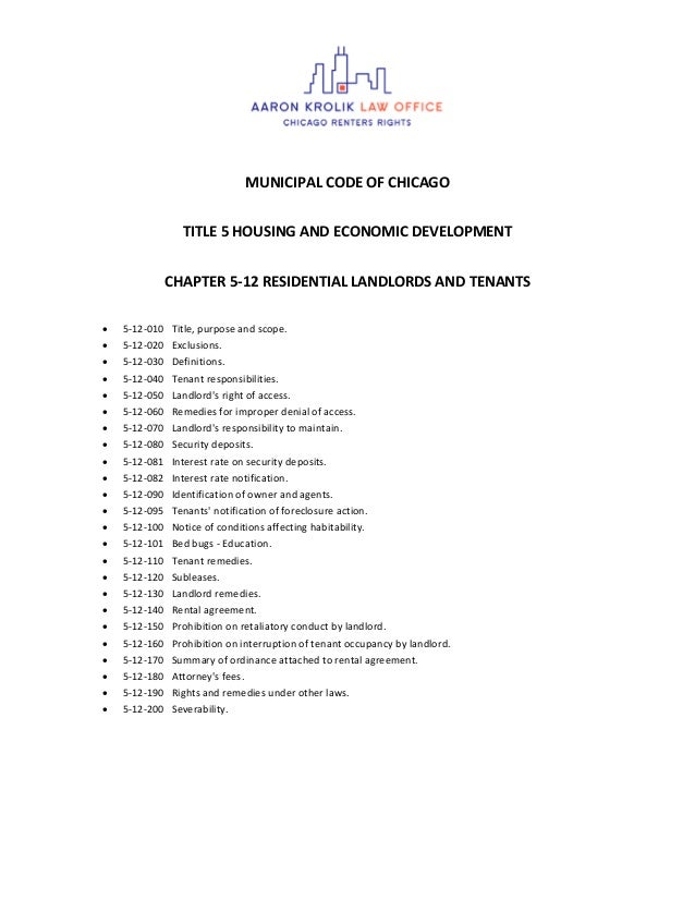 MUNICIPAL CODE OF CHICAGO TITLE 5 HOUSING AND ECONOMIC DEVELOPMENT CHAPTER 5-12 RESIDENTIAL LANDLORDS AND TENANTS  5-12-0...
