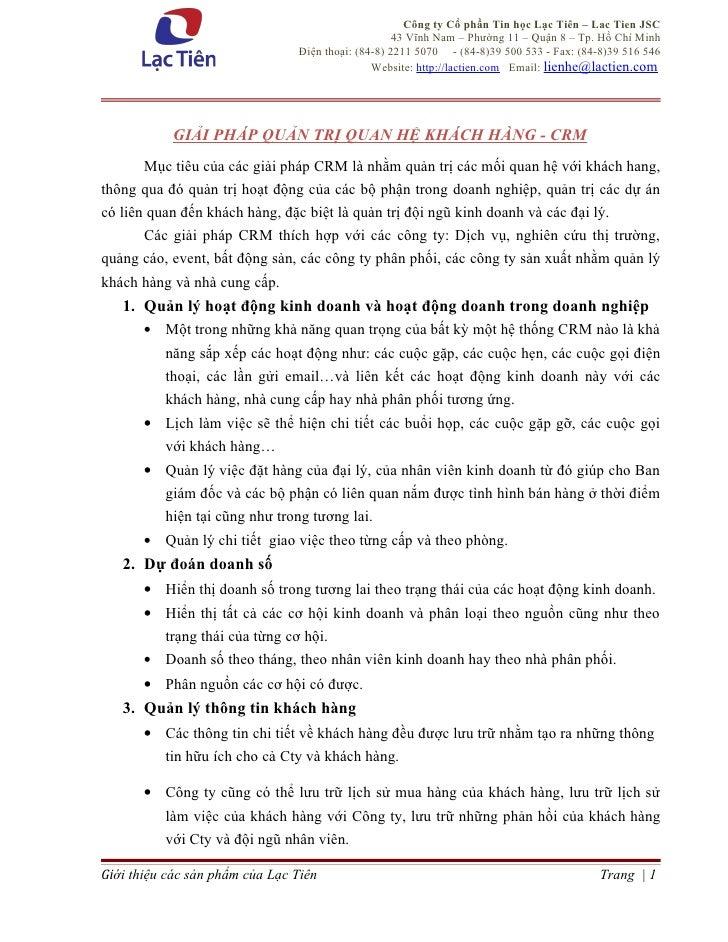 Công ty Cổ phần Tin học Lạc Tiên – Lac Tien JSC                                                    43 Vĩnh Nam – Phường 11...