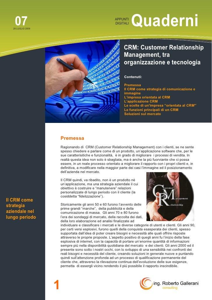 CRM customer relationship management tra organizzazione e tecnologia