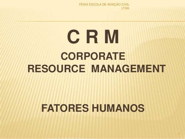 C R M CORPORATE RESOURCE MANAGEMENT FATORES HUMANOS 1 FENIX ESCOLA DE AVIAÇÃO CIVIL LTDA