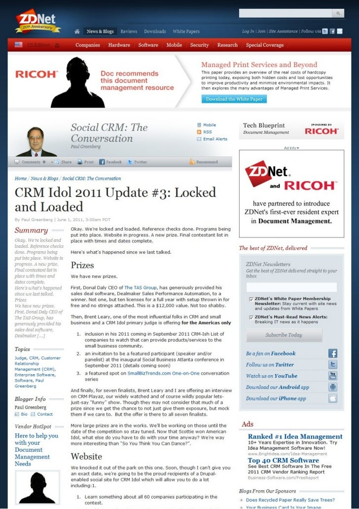 CRM Idol 2011 Update #3: Locked and Loaded