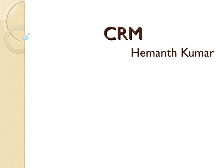 Crm   reliance mart and big bazaar - hemanth