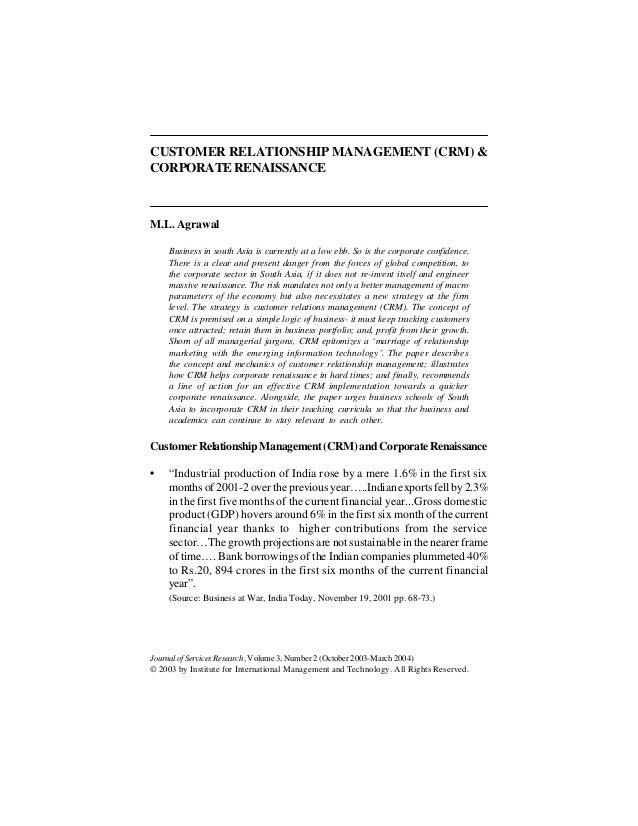 customer relationship management crm essay