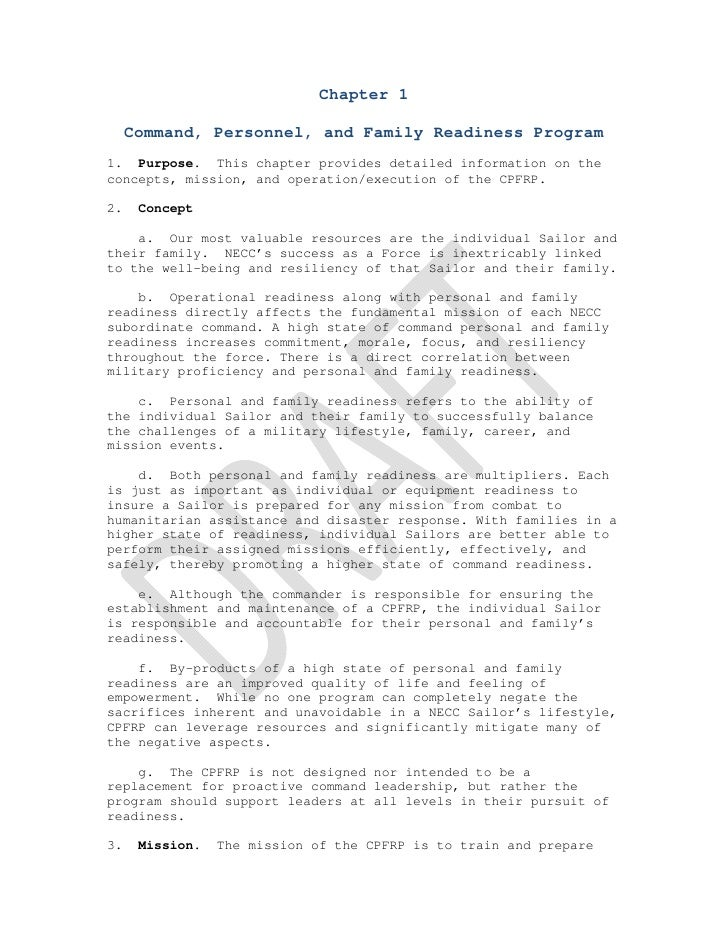 Chapter 1     Command, Personnel, and Family Readiness Program1. Purpose. This chapter prov...