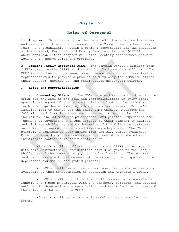 Chapter 2<br />Roles of Personnel<br />  <br />1.  Purpose.  This chapter provides detailed information on the roles and r...