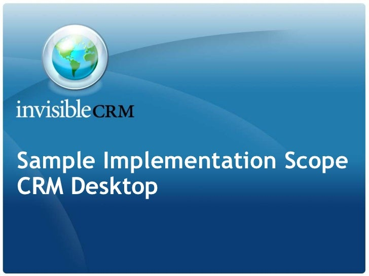 Sample Implementation ScopeCRM Desktop