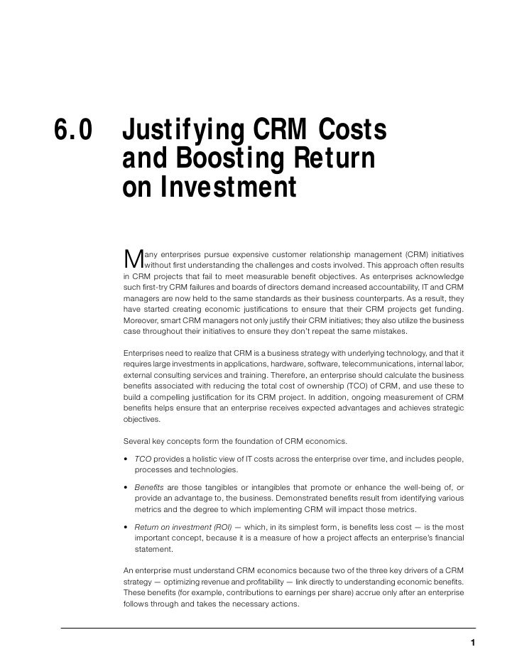 Justifying CRM Costs and Boosting Return on Investment     6.0 Justifying CRM Costs     and Boosting Return     on Investm...