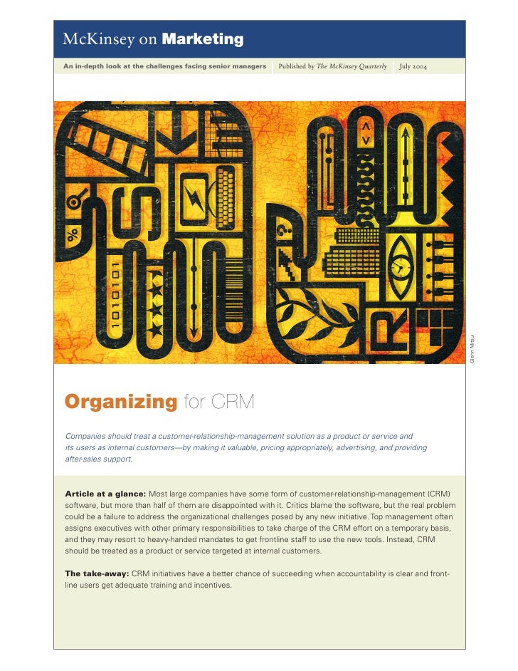Crm mc kinsey on marketing organizing for crm