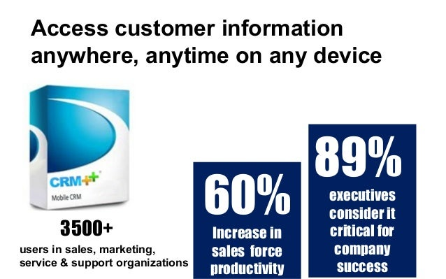 Access customer information anywhere, anytime on any device users in sales, marketing, service & support organizations 350...