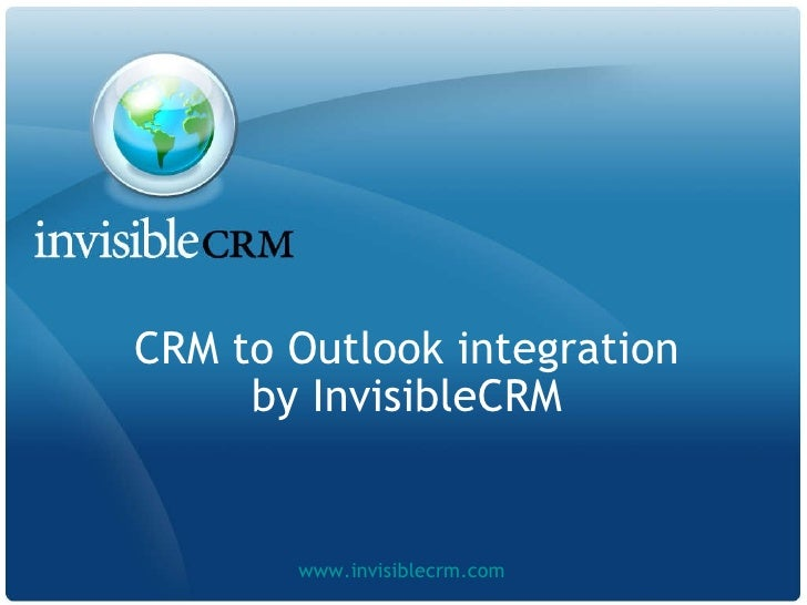 CRM to Outlook integration by InvisibleCRM www.invisiblecrm.com