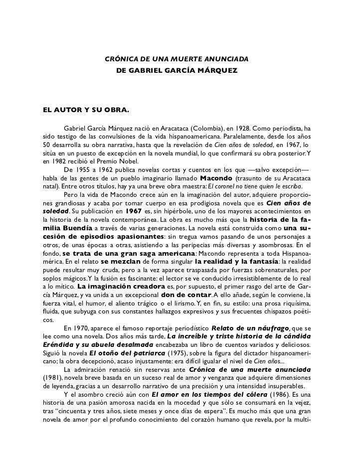 CRÓNICA DE UNA MUERTE ANUNCIADA                           DE GABRIEL GARCÍA MÁRQUEZ     EL AUTOR Y SU OBRA.           Gabr...