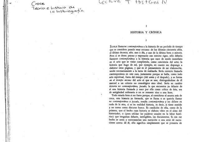 """Croce, """"Historia y crónica"""" y """"Las pseudohistoria"""" en Teoría e historia de la historiografía"""