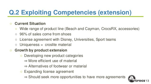 crocs core competencies 1 what are crocs' core competencies 2 how do they exploit these competencies in the future consider the following alternatives: a further vertical integration into materials, b growth by acquisition, and c growth by product extension 3 to what degree do the alternatives in question two fit the company's core competencies, and to.
