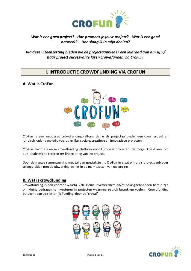 Crofun leidraad projectaanbieders