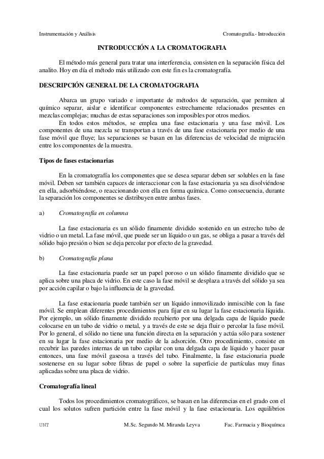 Instrumentación y Análisis                                                Cromatografía.- Introducción                    ...
