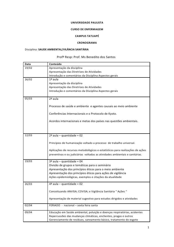 UNIVERSIDADE PAULISTA                                    CURSO DE ENFERMAGEM                                       CAMPUS ...