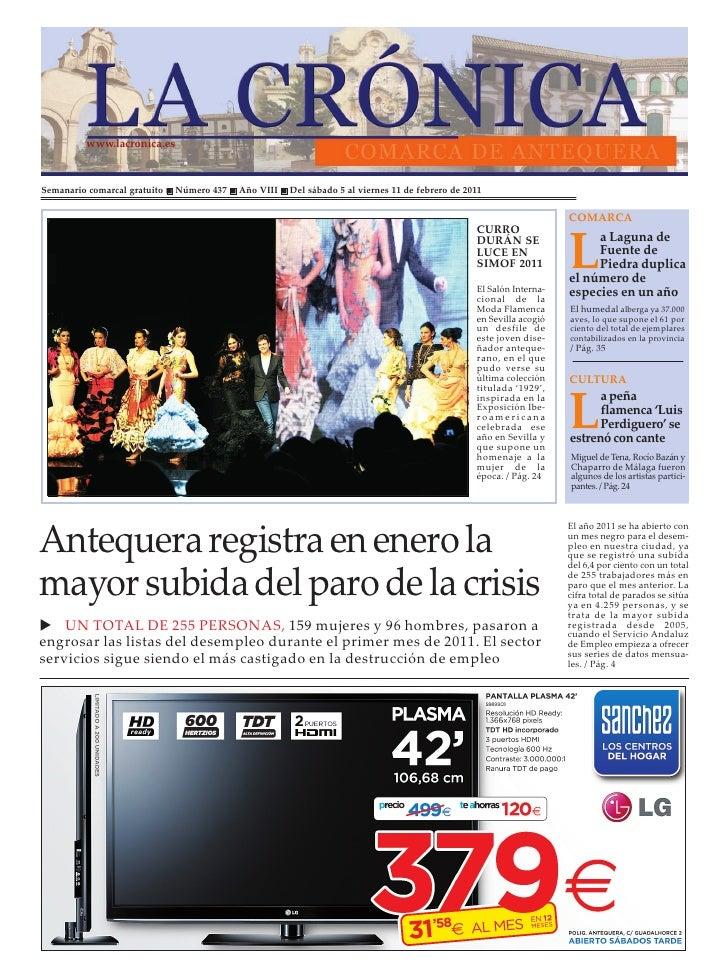 www.lacronica.esSemanario comarcal gratuito   Número 437   Año VIII   Del sábado 5 al viernes 11 de febrero de 2011       ...