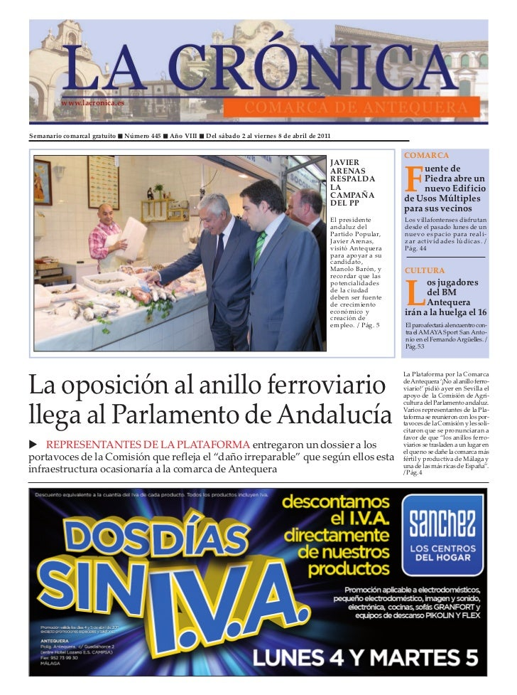 www.lacronica.esSemanario comarcal gratuito   Número 445   Año VIII   Del sábado 2 al viernes 8 de abril de 2011          ...