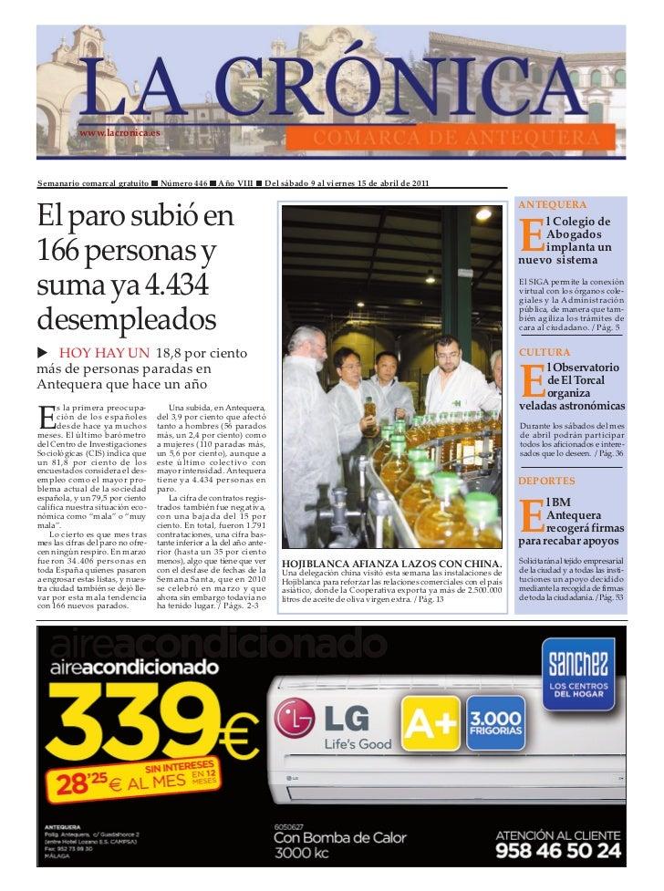 www.lacronica.esSemanario comarcal gratuito         Número 446       Año VIII      Del sábado 9 al viernes 15 de abril de ...