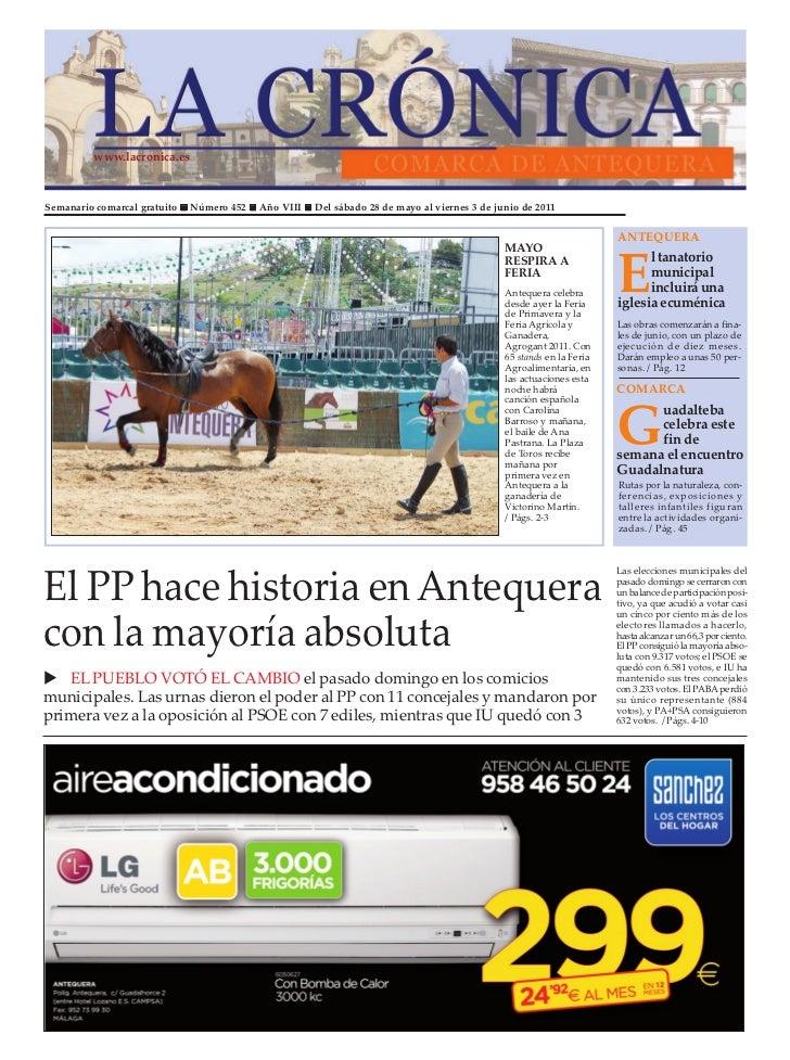 www.lacronica.esSemanario comarcal gratuito   Número 452   Año VIII   Del sábado 28 de mayo al viernes 3 de junio de 2011 ...