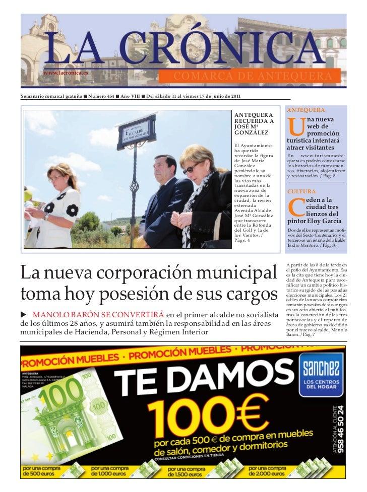 www.lacronica.esSemanario comarcal gratuito   Número 454   Año VIII   Del sábado 11 al viernes 17 de junio de 2011        ...