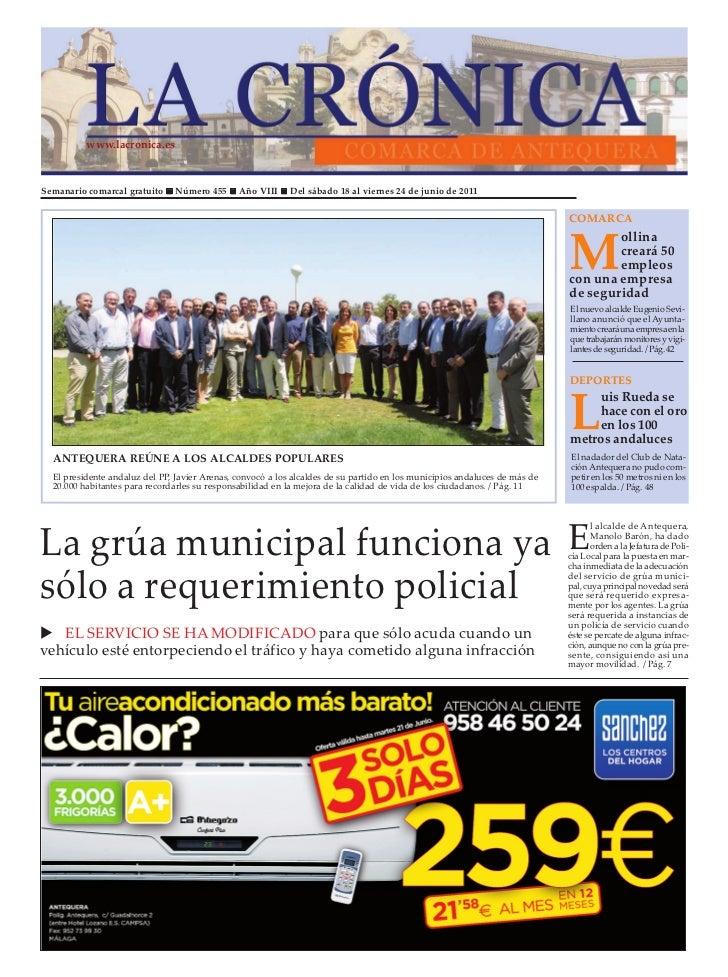 www.lacronica.esSemanario comarcal gratuito     Número 455     Año VIII     Del sábado 18 al viernes 24 de junio de 2011  ...