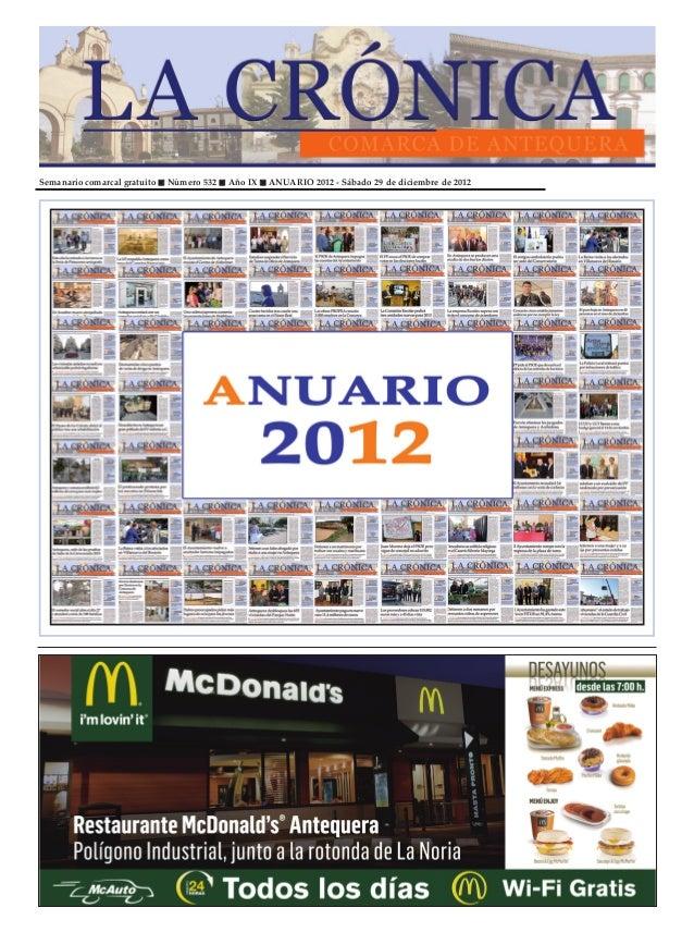 Semanario comarcal gratuito   Número 532   Año IX   ANUARIO 2012 - Sábado 29 de diciembre de 2012