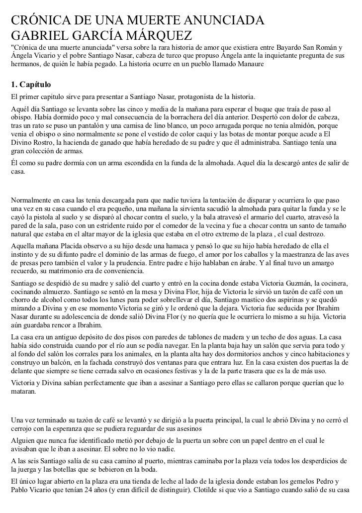 "CRÓNICA DE UNA MUERTE ANUNCIADAGABRIEL GARCÍA MÁRQUEZ""Crónica de una muerte anunciada"" versa sobre la rara historia de amo..."