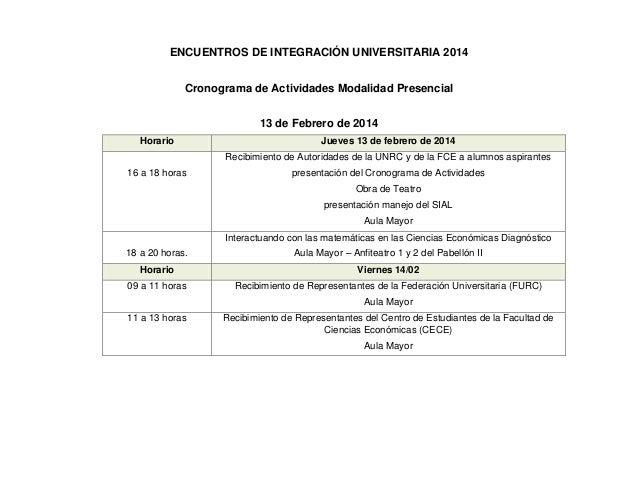 Cronograma de actividades FCE-UNRC 2014