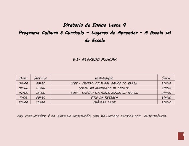 Cronograma Junho - Cultura é Currículo - DE Leste 4
