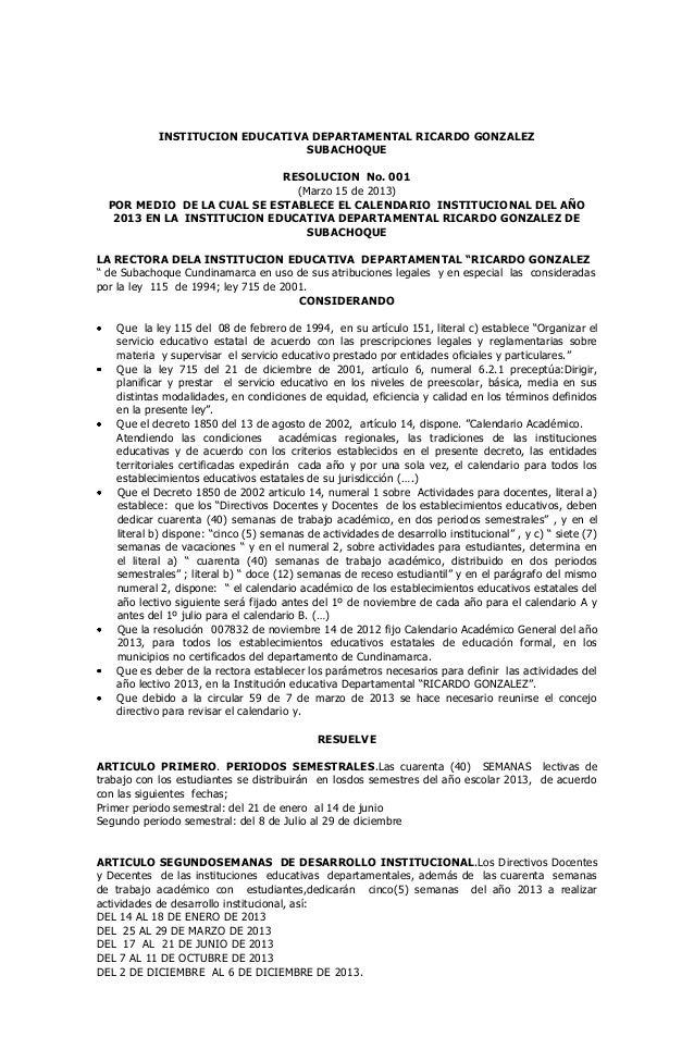 INSTITUCION EDUCATIVA DEPARTAMENTAL RICARDO GONZALEZ                                SUBACHOQUE                            ...