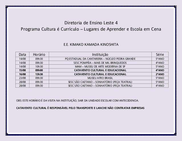 Cronograma Cultura é Currículo - Agosto de 2013