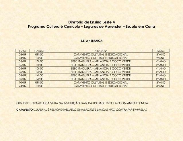 Cronograma Cultura é Currículo - Setembro 2013