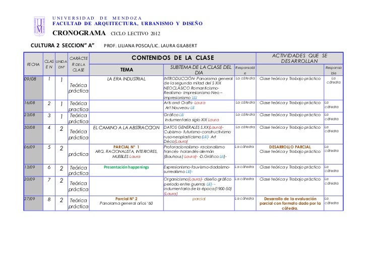 Cronograma cultura 2 sección a.2012