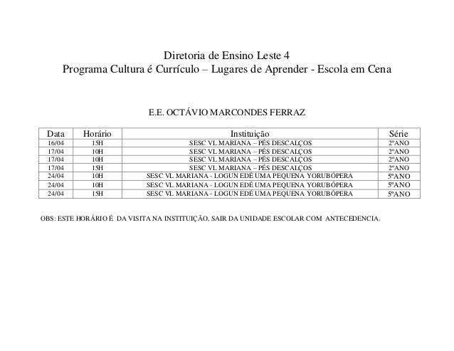 Cronograma Cultura é Currículo - DE Leste 4 - abril 2013