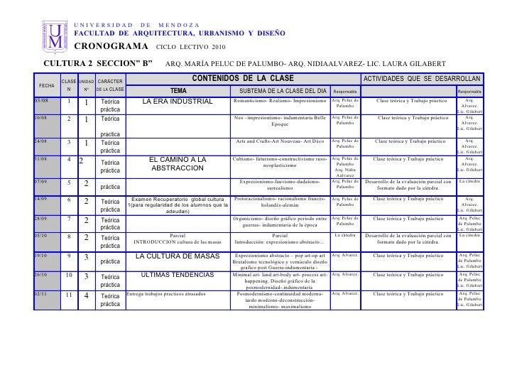Cronograma cultura ii turno mañana 2010