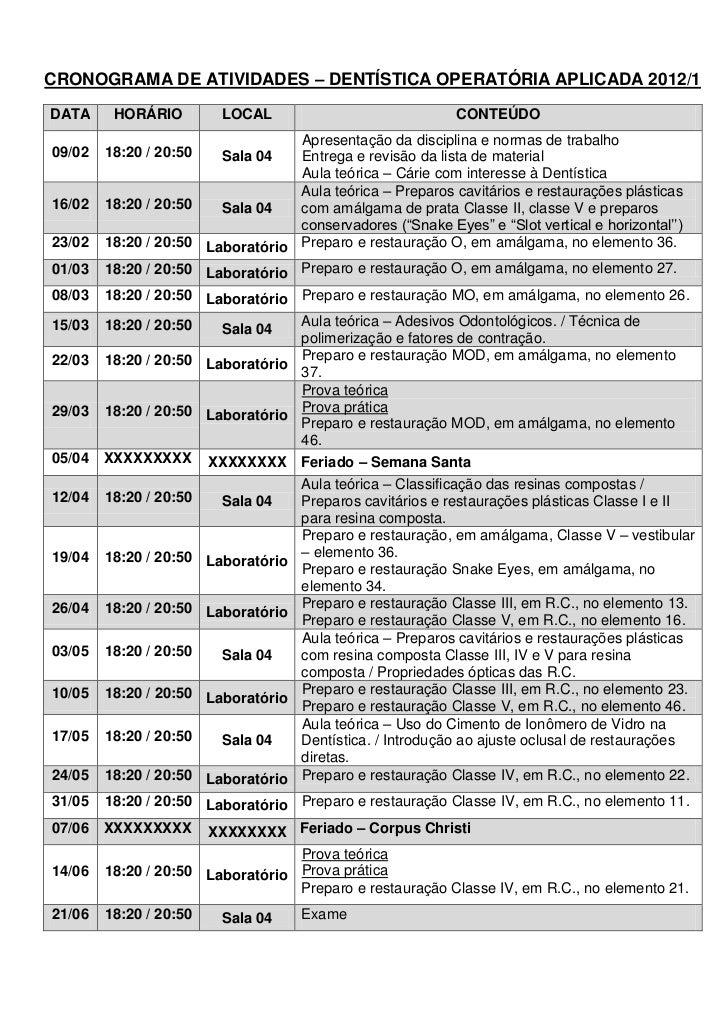 Cronograma de atividades – dentística operatória aplicada   2012-1